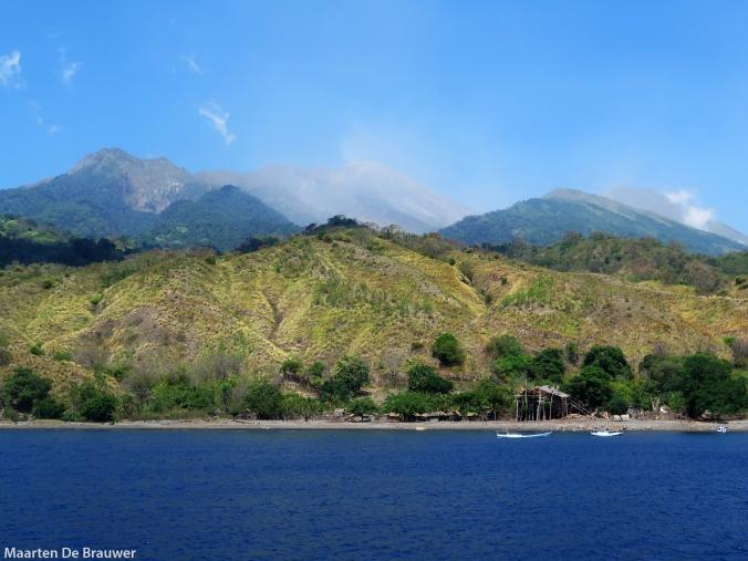 Bontoh village, Sangeang volcano in the background
